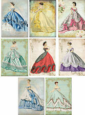 Vintage inspired Victorian women fashion card tags set of 8 with envelopes