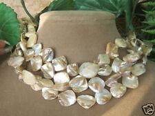 CREAM COIN MOTHER OF PEARL TOP GRADE NECKLACE ART  BEACH BRIDE WEDDING JEWELRY