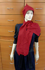 HAT SCARF SET FELTED WOOL MADE IN EUROPE AVANT-GARDE DARK RED HOLIDAY GIFT IDEA