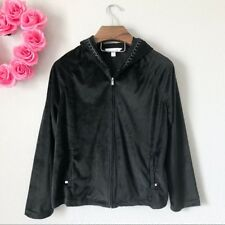 Karen Neuburger Womans Jacket Sz Extra Large XL Black Soft Velour Zip Up Hoodie