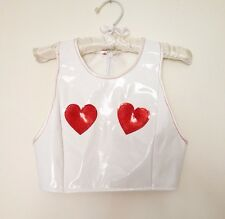 THECREEPSSTORE : Love Heart Red Glitter PVC Crop Top / 8 10 S M / Kawaii White /