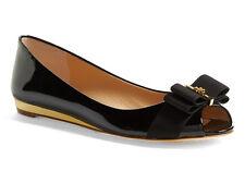 NIB TORY BURCH Trudy Open Toe Bow Black Patent Leather Logo Wedge Flat Size 10.5
