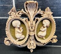 Vtg Ornate Picture Plaque Praying Boy & Girl Wall Decor Soapstone Look