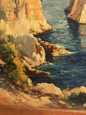 Seascape Capri Early 20th Century Oil On Board Listed Artist Romeo Borgognoni