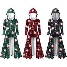 Women Christmas Hooded Jumper Dress Long Sleeve Santa Claus Printed Fancy Dress