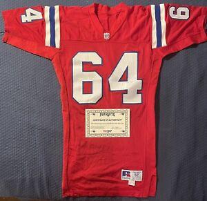 Vintage Patriots 1991 Game Used Worn Russell Red Football Jersey 64 Melander COA