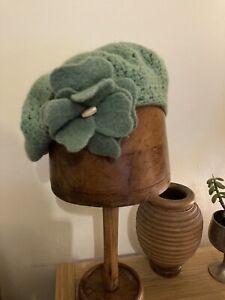 Pale Mint Green Crochet Beret Hat With Flower Appliqué - Wool & Angora Blend