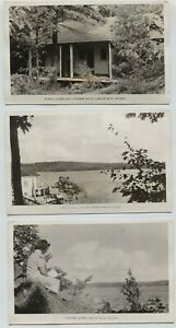 3 Vintage Fairview Island Lake of Bays Ontario Canada Real Photo Postcards RPPPC
