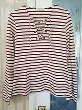 Marks & Spencer Red & Cream Striped Long Sleeved Cotton Top Size 8