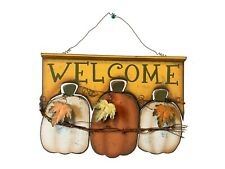 Wood Pumpkin Welcome Welcome Sign Autumn Harvest Wall Decoration