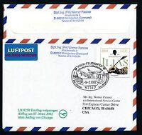 67596) LH FF Köln - Los Angeles USA 7.3.2002, Zudruck GAU Doppelnominale