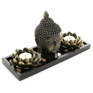 Buddha Head Sculpture Zen Garden Set w/ Lotus Candle Holders & Wooden Tray