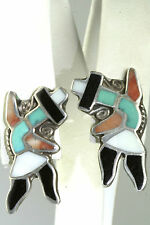 VTG 1950'S STERLING SILVER TURQUOISE CORAL TALL DANCING KACHINA SCREW EARRINGS