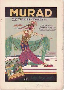 1919 Murad Original tobacco cigarette ad from Century Magazine - Extremely Rare