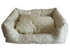 Cama de perro,muelle,cojín para perros corte grande beis lunares blanco 95x70x18