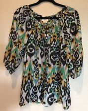 Anthropologie Vanessa Virginia Silk Abstract Multi Button Front Peasant Top, SM