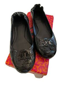 Tory Burch Black Patent Reva Ballet Shoes (9B)