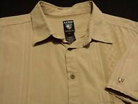 Kuhl Mens XL Short Sleeve Button-Front Organic Cotton Brown Striped Shirt