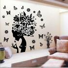 Black Fairy Flower Butterflies Wall Sticker Decal Living Room Bedroom Home Decor