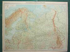 1921 LARGE MAP ~ NORTHERN RUSSIA & FINLAND ~ KOSTROMA ESTHONIA LATVIA LITHUANIA