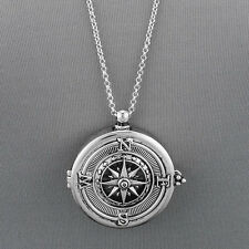 Long Silver Chain Unique Compass Magnifying Glass Pendant Necklace