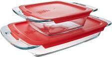 Pyrex glass storage easy grab 3QT oblong 2QT sqaure set