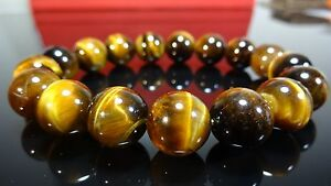 "AAA+ Genuine Yellow Tiger Eye Bracelet for Men (On Stretch) 12mm - 8"" inch"