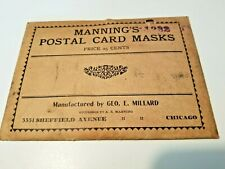 Early 20th Century Mannings Postal Card Masks Photography Chicago Il