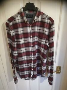 Shore leave burgundy red flanel check shirt size m