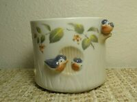 VINTAGE JUST SO LOVELY TAKAHASI MADE IN JAPAN WHITE PORCELAIN WITH BIRDS PLANTER