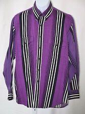 Rodeo Blue Roper Ls Button Up 100% Cotton Purple Striped Shirt Large 16 1/2 X 35