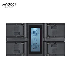 Andoer NP-F970 4-Channel Digital Camera Battery Charger w/LCD Display for Sony