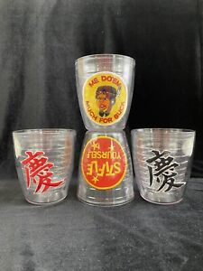 4 VTG  TERVIS TUMBLER 12 Ounce Clear With A Variety Of Fun Patches /r