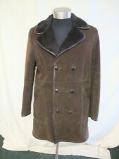 "Mens Coat Bendyk, brown faux suede & faux fur lining/collar, chest 38"" used 2250"