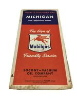 MOBILOIL Michigan MIRACLE FOLD ROAD MAP Socony Mobil Oil Co Rand McNally Vintage