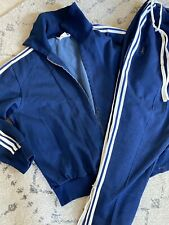 SUPER VINTAGE ADIDAS - Blue Track Suit Pants And Jacket - Size 8 - Three Stripes