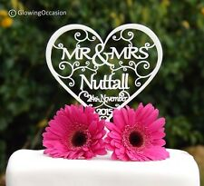 Personalised MR & MRS Wedding Cake Topper Decoration With Surname & Date (White)