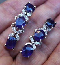 NATURAL BLUE SAPPHIRE  925 STERLING SILVER EARRINGS WHITE GP