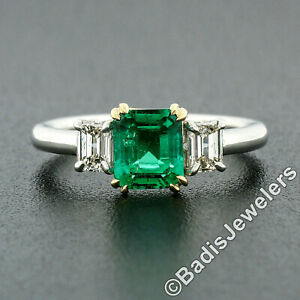New Platinum 18K Gold 1.54ctw GIA CLEAN Colombian Emerald & Diamond 3 Stone Ring