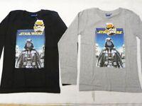 Boys STARWARS Long sleeved Top Tshirt Shirt 4 5 6 8 10 12 Years Black Grey