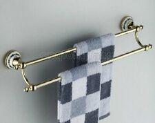 Gold Color Brass Wall Mounted Bathroom Double Towel Bar Towel Rail Towel Holder