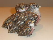 Antique Austria Vienna Bronze Cold Painted Bird with Three Chicks