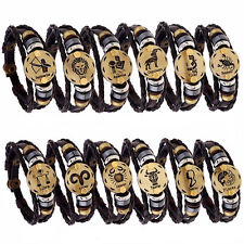 Mens Leather horoscope zodiac birth sign wristband bracelet  wood beads spacers