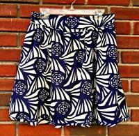 Corey Lynn Calter Anthropologie Sz M Navy Blue Ivory Roses Lined Career Skirt