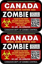"""Two Canada Zombie Hunting License Permits 3""""x4"""" Decals Stickers Red 1208"""