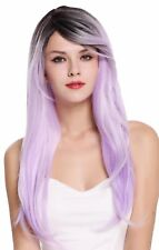 Wig Women's Wig Long Smooth Parting Ombre Dark Brown Light Purple