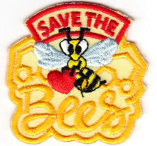 """`""""SAVE THE BEES"""" Iron On Patch Honey Bees Insects"""