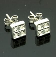 9ct White Gold Diamond Square Earrings - Free Gift Box - Her