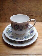 Vintage Paragon Fine Bone China Tea Cup & Saucer Trio/Retro/Cherwell/Blue Floral