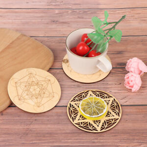 5 Kinds Wood Round Edge Circles Carved Coaster For Stone Crystal Set DIY DecRI